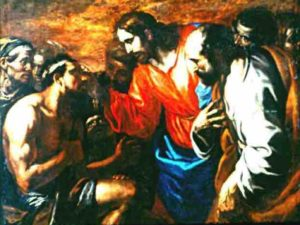 Healing of the blind born, miracle of Christ, by a painter