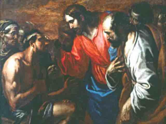 Jésus guérissant l'aveugle né, un miracle du Christ, vu par un peintre